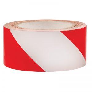 Samolepljiva signalna podna traka crveno/bela 5 cm x 33 m
